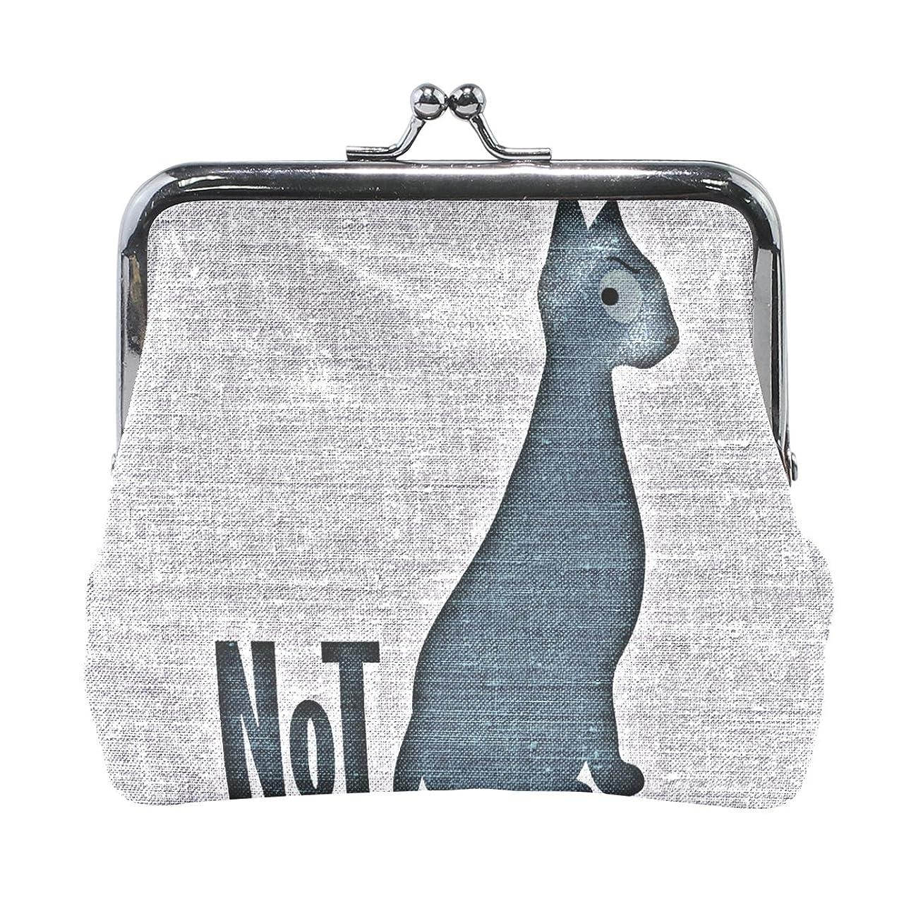 ピアノ真珠のような統計的AOMOKI 財布 小銭入れ ガマ口 コインケース レザー 猫 ブラック シンプル