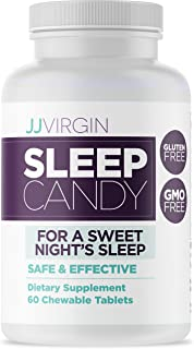 JJ Virgin Sleep Candy - Chewable Natural Sleep Aid Supplement with 5-HTP, Inositol, Vitamin B6, Melatonin & L-Theanine - P...