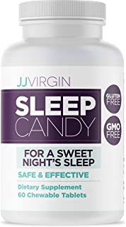 JJ Virgin Sleep Candy - Chewable Sleep Aid with 5-HTP, Inositol, B6, Melatonin + L-Theanine (60 Tablets)