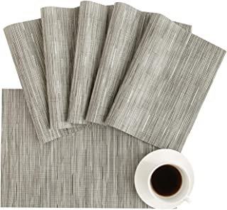 DOLOPL Placemats Gray Placemat Set of 6 Crossweave Woven Vinyl Easy to Clean Wipeable Washable Heat Resistant Table Mats f...