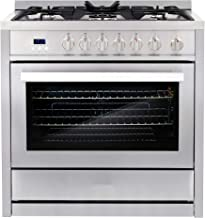 Cosmo COS-965AGC 36 in. 3.8 cu. ft. Single Oven Gas Range with 5 Burner Cooktop and Heavy Duty Cast Iron Grates in Stainless Steel