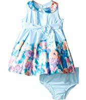 Us Angels - Matte Satin Sleeveless Peter Pan w/ Photo Reel Border Dress (Infant)