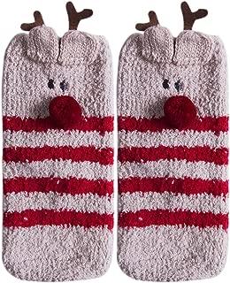 Christmas Santa Coral Fleece Slipper Socks Adults Kids Winter Socks Gift