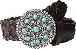 Turquoise Concho Buckle Braided Belt