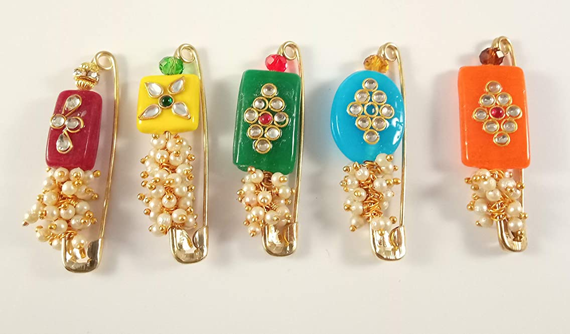 Sarvam Decorative Safety Pins Saree Pin Brooch One Side of Pin Decorated with Multicolored Stones and Faux Pearls Set of 5