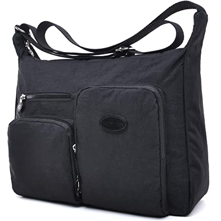 Große Umhängetaschen Damen Leichte Schultertasche Tasche Crossover Handtasche Nylon Sporttasche Stofftasche Wasserdicht (Schwarz, XL)