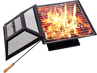 Neakomuki Fire Pit BBQ Grill 18.5 Fire Pits Outdoor Wood Burning Chiminea Small Firepit Grate Portable Steel Firepits for Out