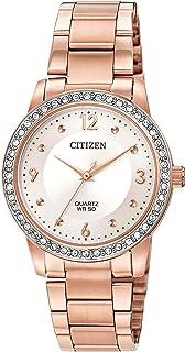 ساعة سيتيزن كوارتز للنساء بسوار ستانلس ستيل مع عقارب ذهبية - 18 موديل (EL3093-83A)