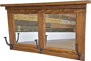 Wood Mirror Coat Rack Hanger Wall Mounted, Mission, 2 Panel, 3 Hook, Oak Wood, Michaels Stain