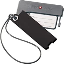 SwissGear Plastic Luggage Tags with Privacy Covers for Personal Information Protection, Black, One Size