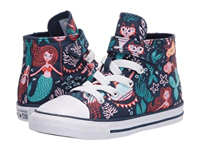 Converse Kids Chuck Taylor(r) All Star(r) 1V Mermaid (Infant/Toddler) (Navy/Rapid Teal/White) Girl