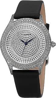 Akribos XXIV Women's Crystal Pave Dial Watch - Raised Border Diamond Bezel On Genuine Leather Strap - AK896