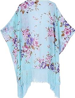 f227fc2dc24 soul young Women s Floral Light Chiffon Beachwear Cover up Kimono Cardigan