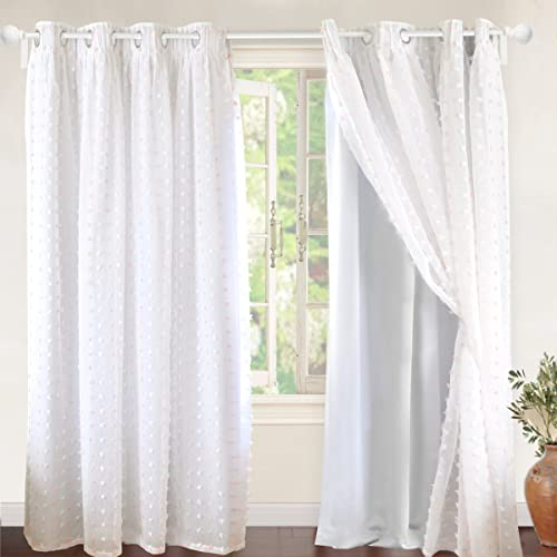 Good DriftAway Lily White Pinch Pleated Voile Sheer U0026 Blackout Curtain Liner,  Embroidered With Pom Pom