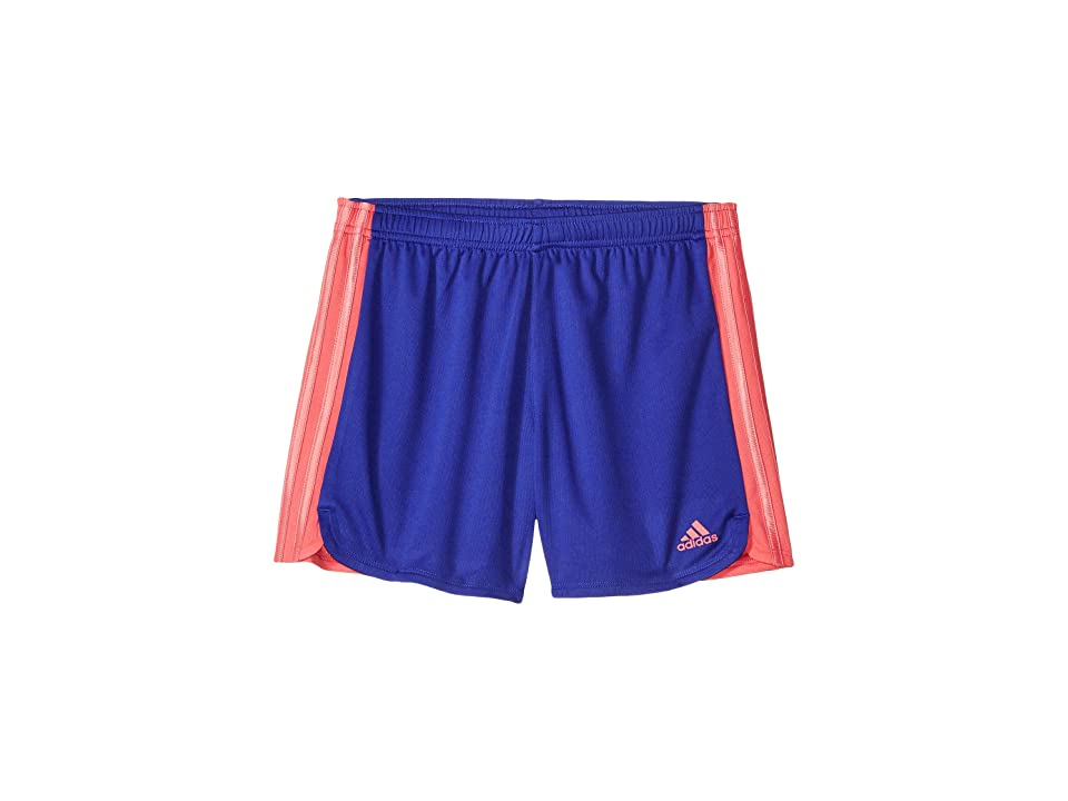 Image of adidas Kids 3 Stripe Blocked Shorts (Big Kids) (Royal) Girl's Shorts