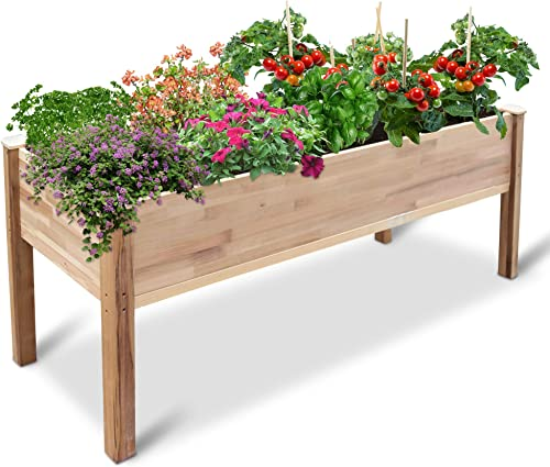 """new arrival Jumbl Raised Canadian Cedar Garden Bed discount   Elevated Wood Planter for new arrival Growing Fresh Herbs, Vegetables, Flowers, Succulents & Other Plants at Home   Great for Outdoor Patio, Deck, Balcony   72x23x30"""" online sale"""