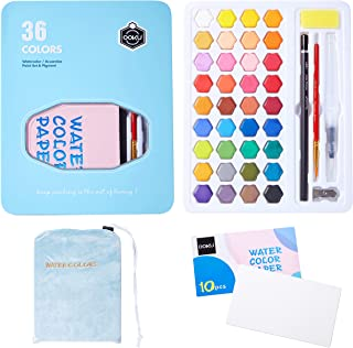 OOKU 36 Professional Gouache Watercolor Kit with Water Brush Pen, Pencils, Pouch | Watercolor Set with Metal Box | Painting Supplies with Palette | Perfect for Artists Students Kids & Adults - Blue