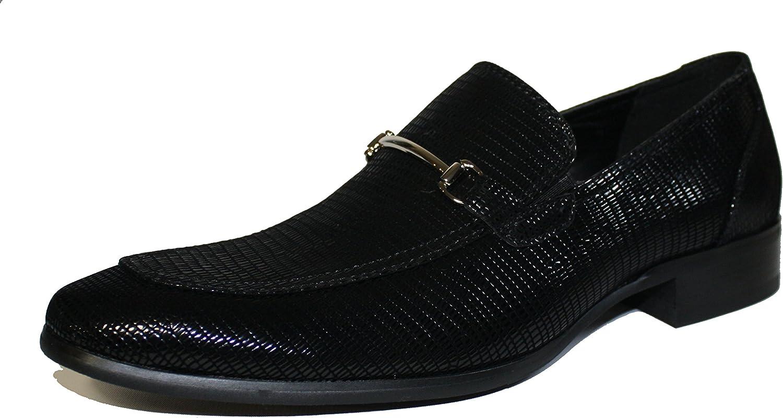 Faranzi F41095 Oxford shoes for Men Black Patent Snake Print Tuxedo Slip-on Loafer Dress Wedding