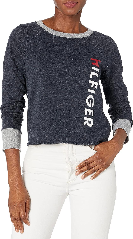 Tommy Hilfiger Women's Long Sleeve Pullover Logo Sweater Sweatshirt Pajama Top Pj