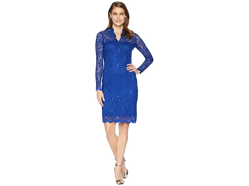 MARINA Long Sleeve Scalloped Stretch Lace Short Dress (Royal) Women