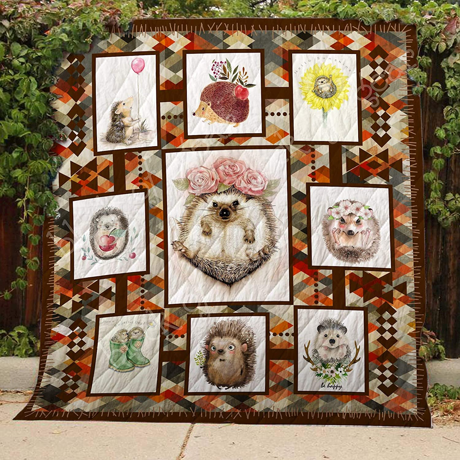 Hedgehog Quilt TH490, Queen All-Season Quilts Comforters with Reversible Cotton King Queen Twin Size - Best Decorative Quilts-Unique Quilted for Gifts