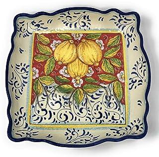 CERAMICHE D'ARTE PARRINI- Ceramica italiana artistica, bolo decorazione limoni, dipinto a mano, made in ITALY Toscana
