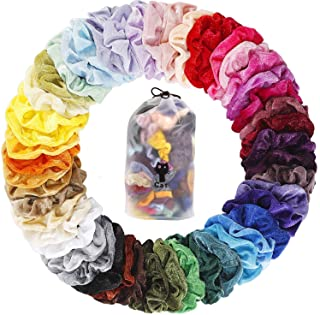 YITHINC 50 PCS Hair Scrunchies Velvet Elastics Bobbles Hair Bands Scrunchy Hair Tie Ropes Scrunchies for Women Girls with Gift Bag,50 Assorted Colors