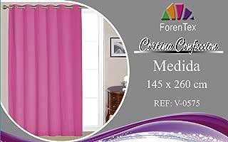 ForenTex - Cortina - Visillo, (V-0575), 145 x 260 cm, translucida, Fucsía, confeccionado muy elegante, máxima calidad en la confección y muy duradero. 1-4 cortinas paga solo un envío, descuento equivalente al finalizar la compra.