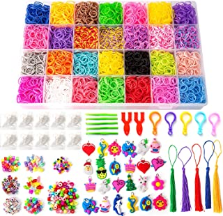 SAVITA 11800+ Rainbow Rubber Bands Kit for DIY Bracelet Making, Including 11,000 Rubber Loom Bands 28 Colors, 500 S-Clips, 170 Colorful Beads, 95 Letter Beads, 24 Charms, 5 Backpack Hooks, 5 Tassels,