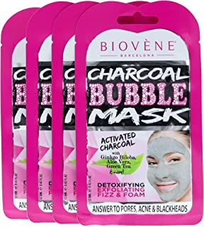 Biovène Charcoal Bubble Mask, Pack of 4 Sachets (0.42 oz ea.) Carbonated Mask to Purify Face. With Activated Charcoal and Natural Extracts.