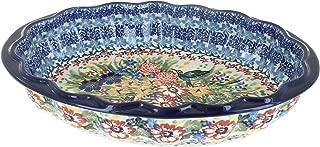 Blue Rose Polish Pottery Hummingbird Scallop Baking Dish