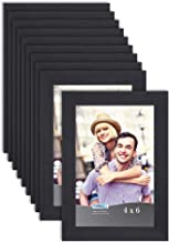 Icona Bay 4x6 Picture Frame Set (Black, 10 Pack), Simple Modern Design, Table Top Kickstand and Wall Hanging Hooks Include...