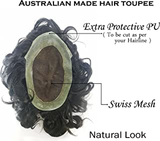 Natural Black 100% Human Hair Toupee/Hair Wigs For Men/Hair System/Hair Patch/Hair Pieces Men Wigs Available in Many Styles + Free Hair Neem Wood Comb (Australian Toupee, 10X7 inch)
