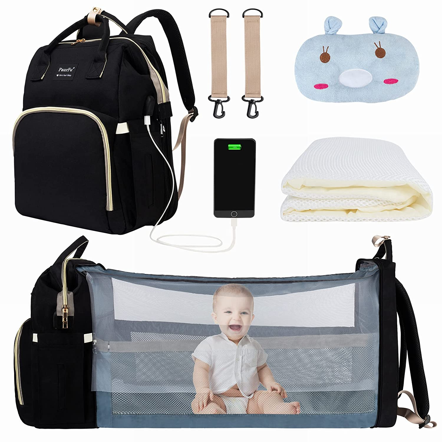 8 in 1 Diaper Bag with Changing Station, PaurFu Waterproof Diaper Baby Bag for Boy Girl, with Foldable Bassinet Bed, Unique Mosquito Net Sunshade,Soft Baby Pillow and USB Charge Port etc (Black)