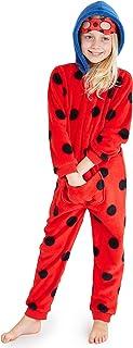 Miraculous Ladybug Pijama Niña de Una Pieza, Pijamas Niña de Lunares, Pijama Entero Niña de Forro Polar con Capucha, Regalos para Niñas Edad 2-10 Años