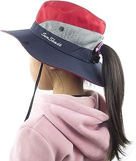 King Star Kids Girls Ponytail Summer Sun Hat Wide Brim UV Protection Beach Bucket Cap