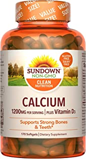 Sundown Calcium 1200mg with Vitamin D3 25mcg Softgels for Immune Support, Non-GMO Dairy-Free, Gluten-Free, 170 Count