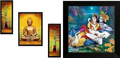 SAF 'Buddha' Digital Reprint Framed Painting (Synthetic, 72 cm X 49 cm X 3 cm, Set of 3, Sanfsa50L) & ' Radha Krishna ' Religious Up Textured Framed Painting (34 cm X 2 cm X 34 cm) Combo