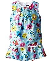 Oscar de la Renta Childrenswear Scattered Flower Mikado Multi Layer Dress (Toddler/Little Kids/Big Kids)
