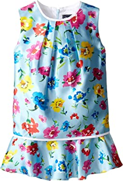 Oscar de la Renta Childrenswear Scattered Flower Mikado Multi Layer Dress (Toddler/Little Kids/Big Kids)