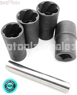SKEMiDEX---5 Pc Twist Socket Set 4 Damaged Worn Lug Nut and Lock Remover 17,19, 21mm, 22mm. 1/2