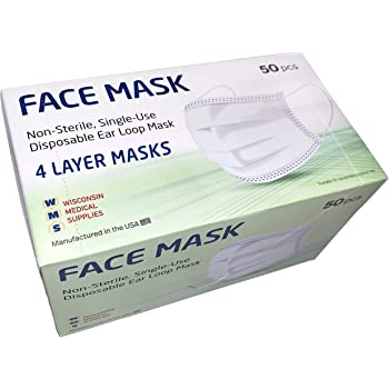 Wms 4 Layer Face Masks Wisconsin Medical Supplies Made In Usa 4 Pack 200 Pcs Amazon Com
