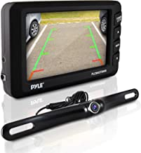"Wireless Rear View Backup Camera - Car Parking Rearview Monitor System and Reverse Safety w/Distance Scale Lines, Waterproof, Night Vision, 4.3"" LCD Screen, Video Color Display for Vehicles - Pyle"