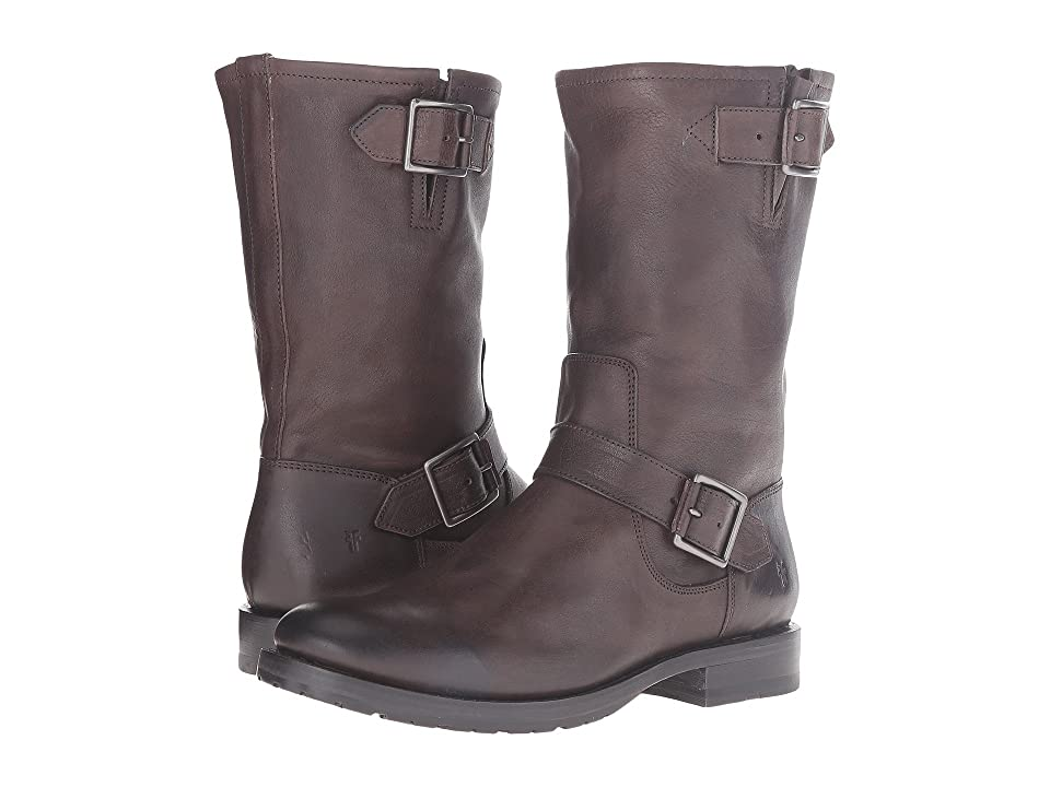 Frye Natalie Mid Engineer (Charcoal Tumbled Full Grain) Women's Boots
