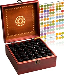Beautiful Essential Oil Storage Box Organizer - Hold 36 5-15ml & 10ml Roller Bottles - Free Roller Bottle Opener and 192 EO Labels - Wooden Oil Case Holder