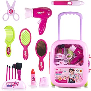 WISHKEY Make Up Case and Cosmetic Set Suitcase, Durable Kit Hair Salon with Beauty Accessories for Children Girls