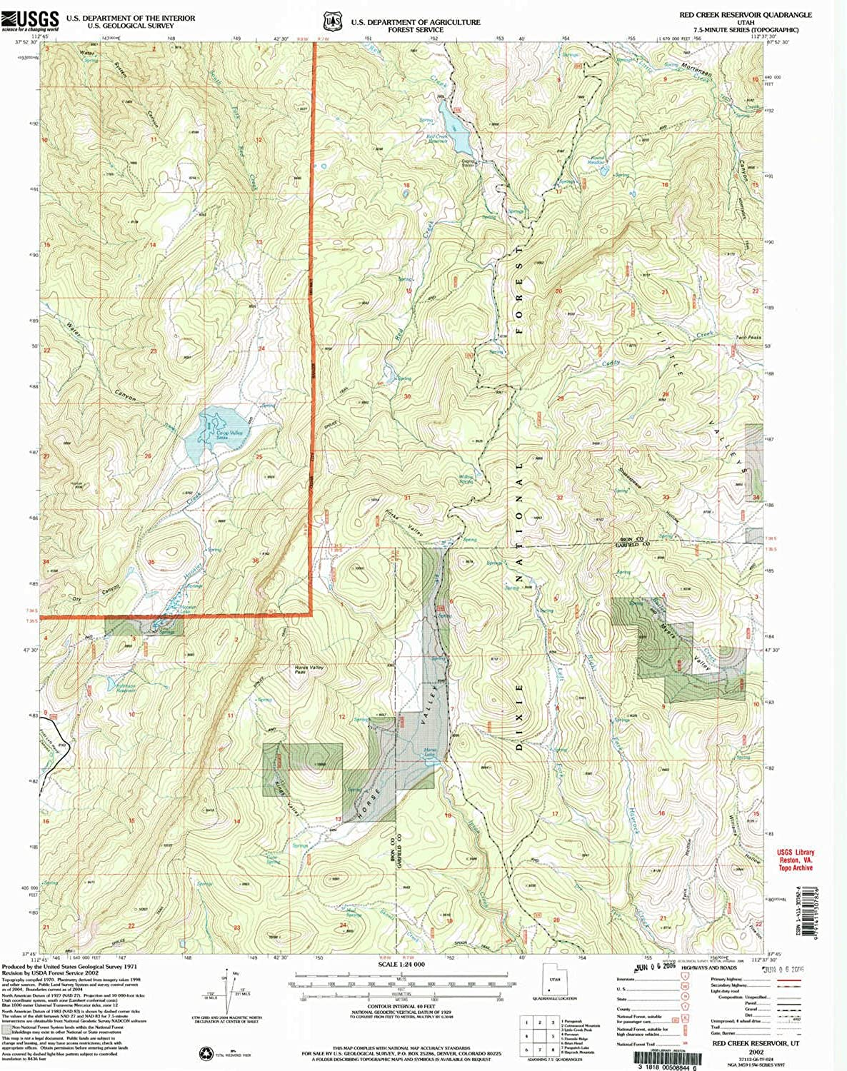 Red Creek Reservoir UT topo map, 1 24000 Scale, 7.5 X 7.5 Minute, Historical, 2002, Updated 2005, 26.6 x 21.8 in