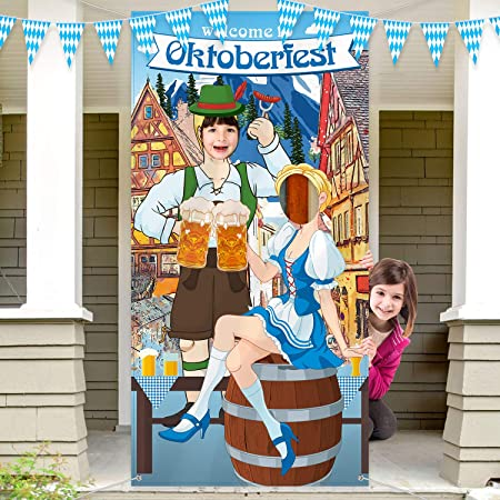 Oktoberfest Party Decorations Oktoberfest Photo Prop, Fondo de Fotomatón de Tela Gigante, Suministros Divertidos de Juegos Oktoberfest para el Festival de la Cerveza Bávara, 6 x 3 Pies