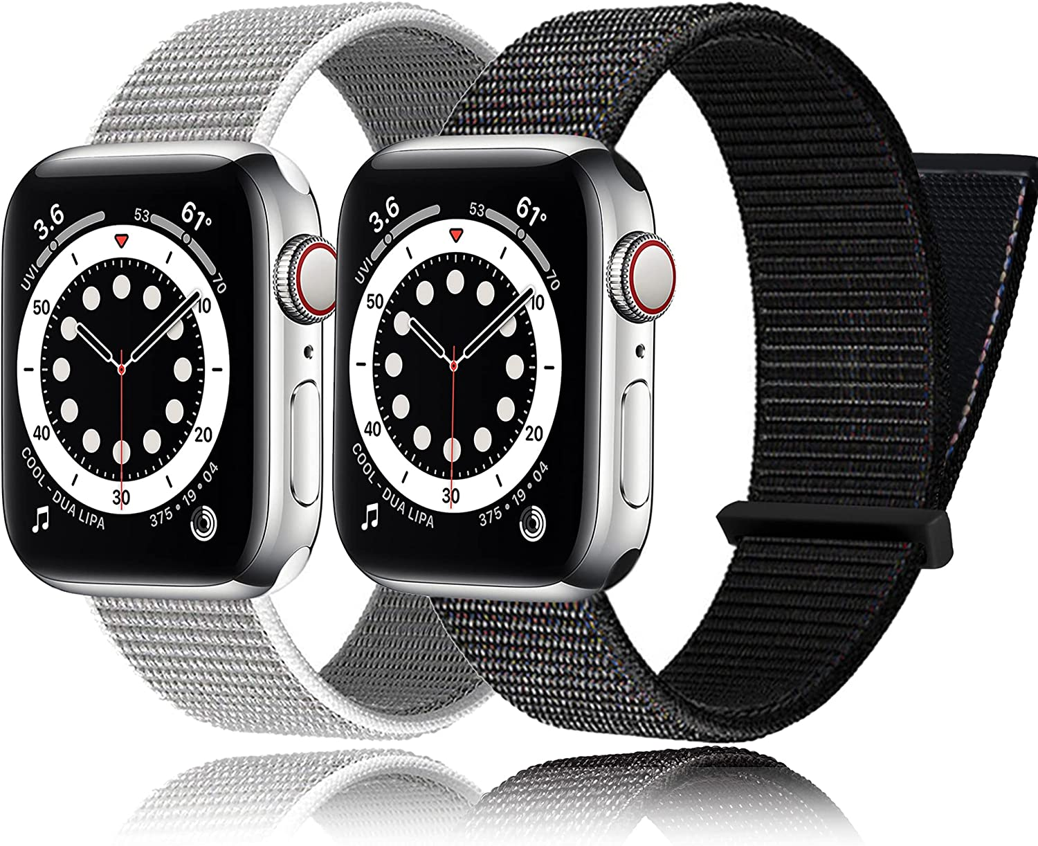 2Pack PROATL Adjustable Nylon Sport Loop Band Compatible with Apple Watch Band 38mm 40mm 42mm 44mm, Women Men Braided Weave Replacement Strap for iWatch Series 6 5 4 3 2 1 SE