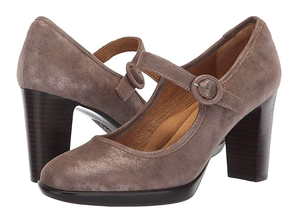 1950s Style Shoes | Heels, Flats, Saddle Shoes Sofft Natara Smoke Distressed Foil Suede High Heels $99.95 AT vintagedancer.com